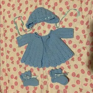 Vintage 1970's Baby Cardigan, Bonnet, and Booties